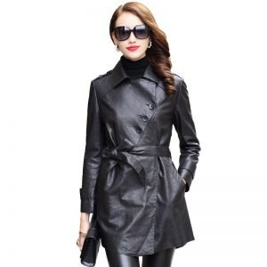 Women's leather coats, sheepskin leather mid-length slim coat. HQ18-YWD8007A