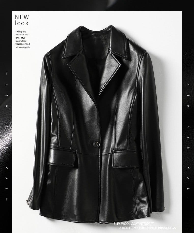 Women's leather jacket, fashion sheep skin small suit jacket.HQ20-CLR8205A model 01